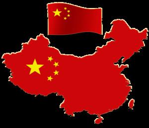 Mapa de China y bandera de la República Popular China